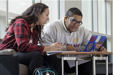 A male and Female student studying together and sharing a laptop