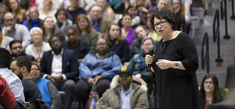 Supreme Court Justice Sotomayor speaking to a crowd