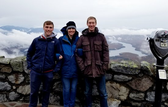 DAES graduate student Christopher Lawrence, ASRC Research Associate Sara Lance and postdoctoral researcher Joseph Niehaus at Whiteface Mountain.