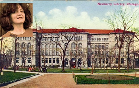 Nancy Newman, in inset upper left, will research the history of the Chicago Musical College this fall at Chicago's famed Newberry Library, depicted here in a 1910 postcard.