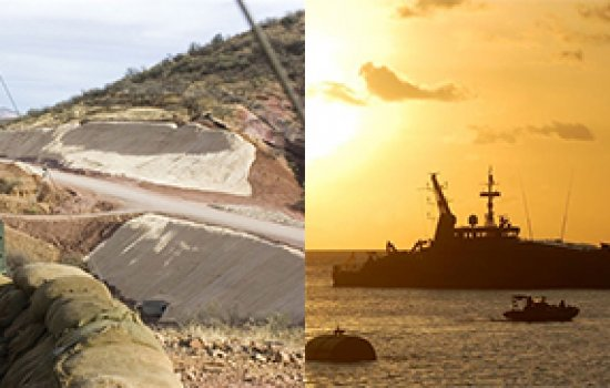 Public information campaigns may lessen the need for traditional border enforcement seen above: at left, a National Guardsman stands ready at the southwest U.S. border; at right, a migrant boat being intercepted by an Australian Navy ship near Australia's Christmas Island (photo by Kate Coddington).