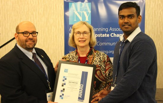 Left to right: Mark Castiglione, MRP Alumni, Marcia Kees, instructor, Karthik Soundara Rajan, MRP student