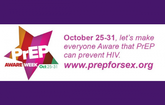 "On a purple background, a white banner sits with information about PrEP aware week in bright pink text. The text says ""October 25-31, let's make everyone Aware that PrEP can prevent HIV. www.prepforsex.org"""
