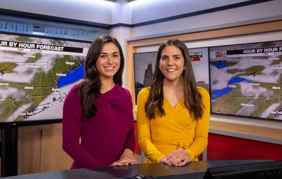 UAlbany's WNYT students take photo in studio.