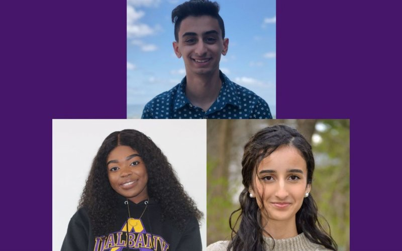 Three photos in a purple background show Andrew Eldiery at top, Chidiogo Igboekwe, bottom left, and Sana Effendi, bottom right.