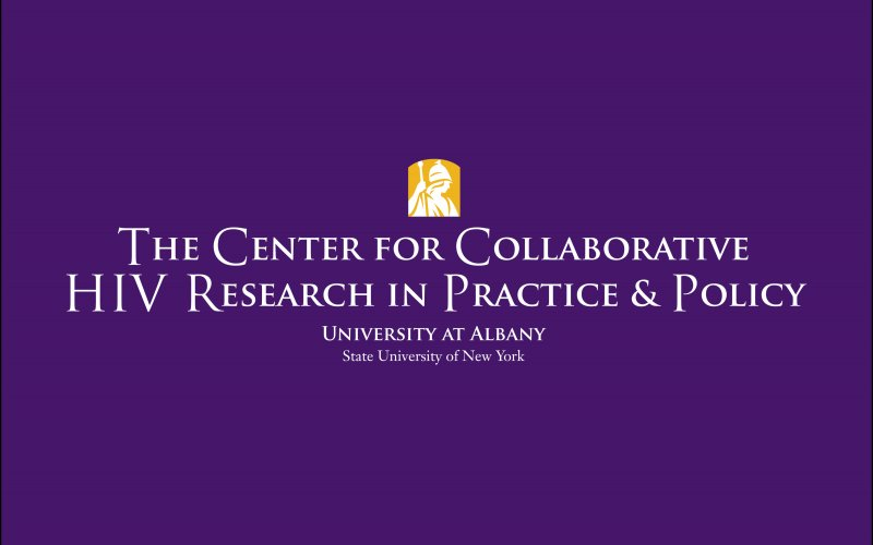"On a purple background, the text ""The Center for Collaborative HIV Research in Practice and Policy"" is written in white."