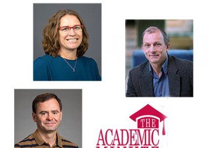 Photos of 5 UAlbany researchers surround the Academic Minute logo