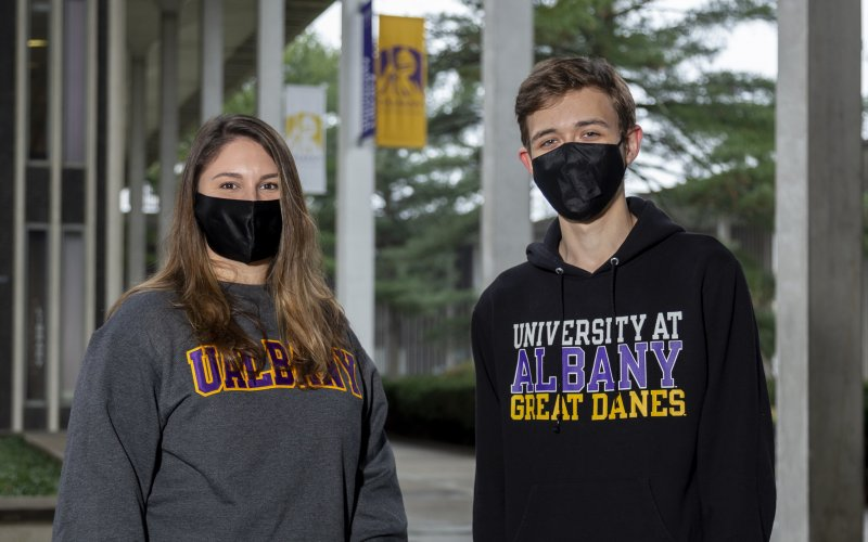 Taylor Perre and David Skorodinsky are part of UAlbany's Student Support Team this semester.