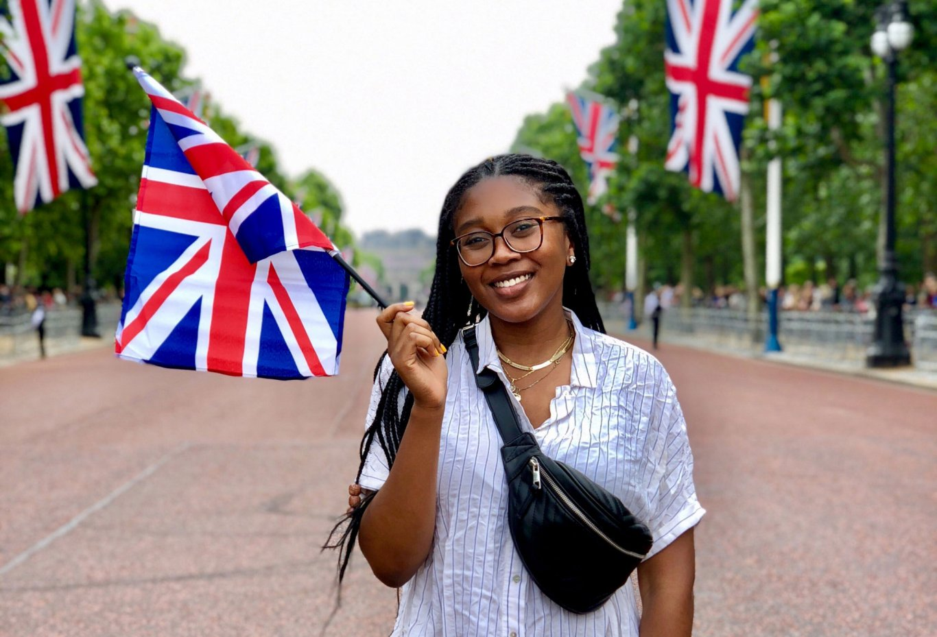 A UAlbany student poses while studying abroad in the United Kingdom.