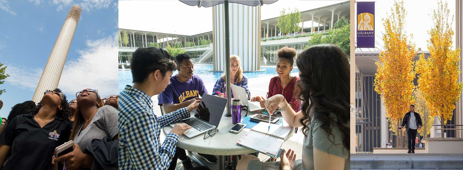 Three images displaying students around the UAlbany Campus