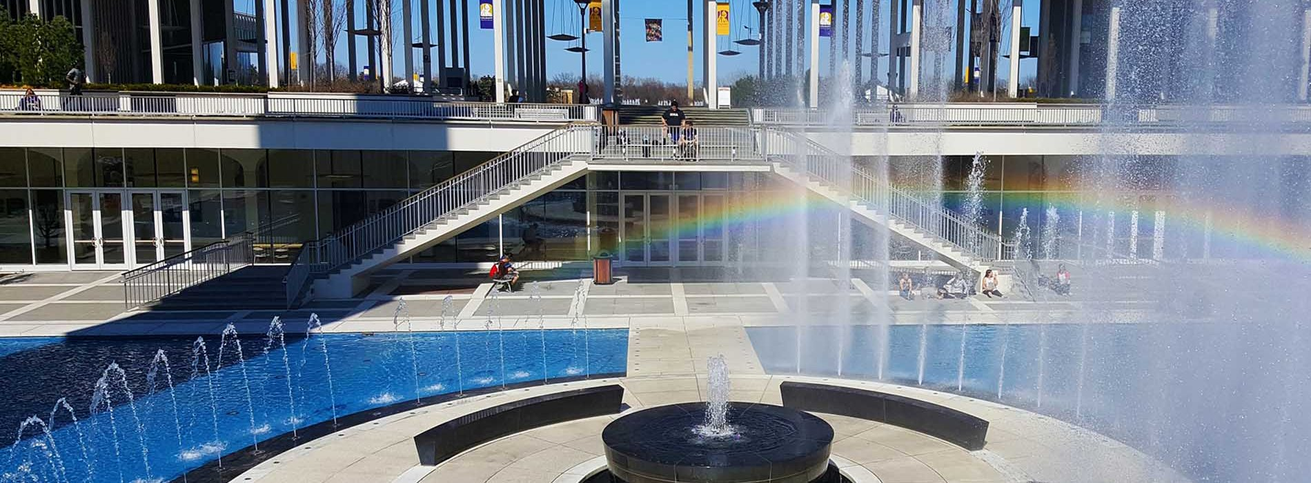 UAlbany's Main fountain in the summer