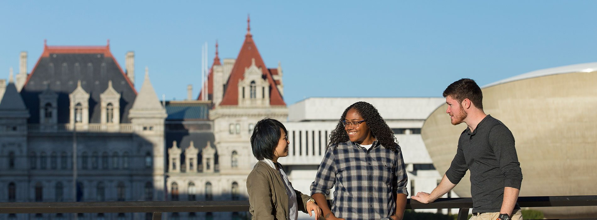 Students visit Empire State Plaza in Downtown Albany