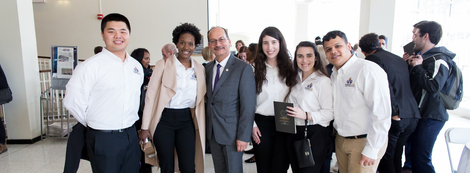 President with students