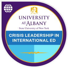 badge image for crisis leadership in international ed