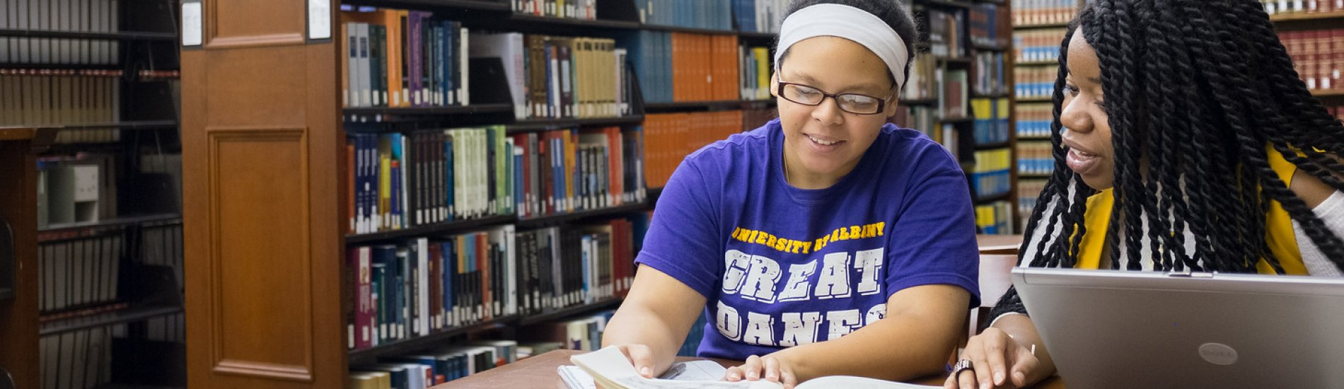 Students studying in the UAlbany Dewey Library
