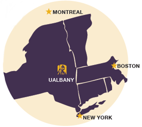Regional map depicting UAlbany in relation to Montreal, Boston and New York City