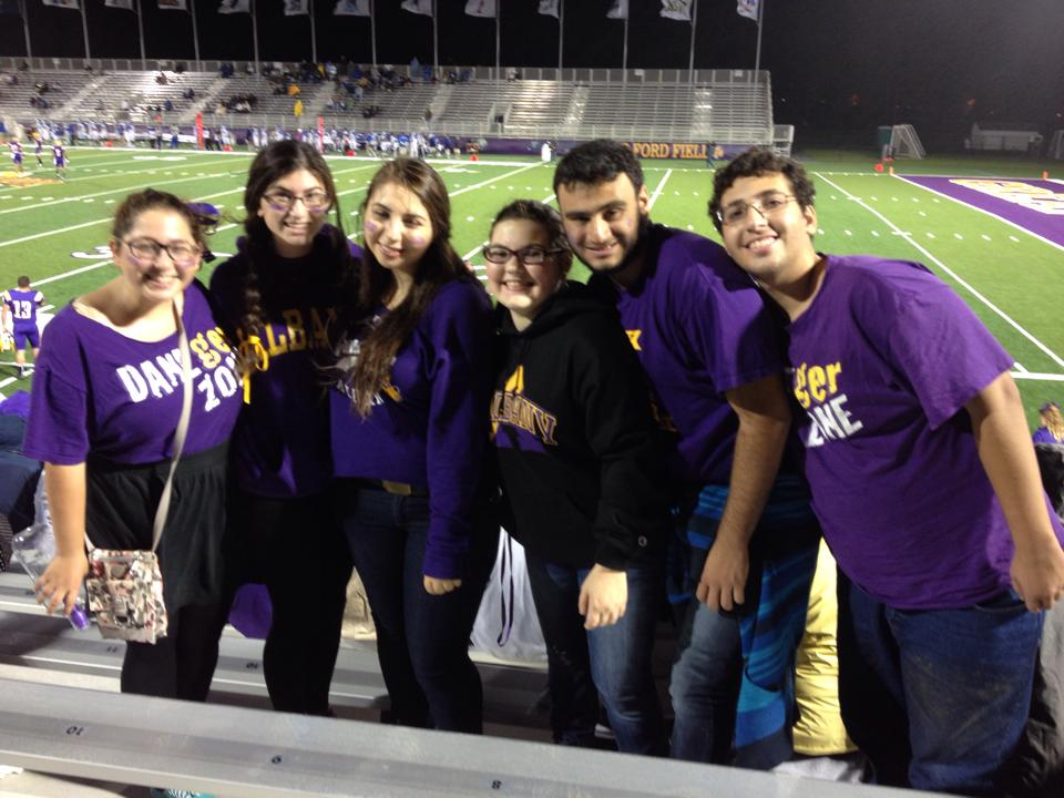Jewish Culture students at a football game.