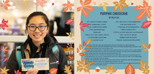 woman with black hair and glasses smiling holding a gift certificate. Autumn leaves as background.