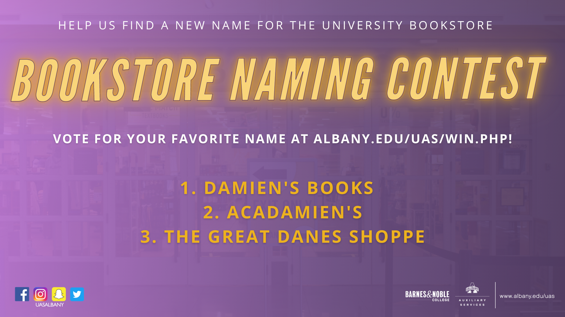 "Purple gradient background with neon gold text. ""Bookstore Naming Contest"" in glowing neon letters. Grand prize is a $500 bookstore gift card! Help us find a new name for the University Bookstore."