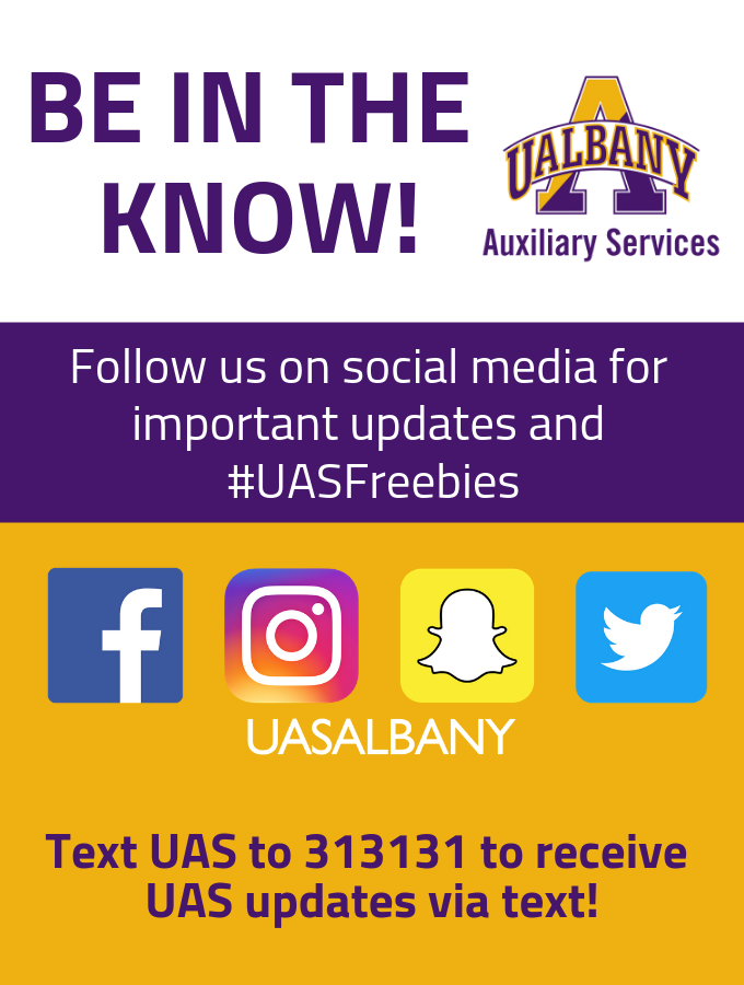 Be in the know! Follow us on social media for important updates and #UASFreebies. Facebook Icon, Instagram Icon, Snapchat Icon, and Twitter Icon. Text UAS to 313131 to receive UAS updates via text!