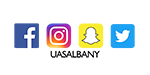 facebook icon, white f on blue background. Instagram icon, small square with white camera outline. Snapchat icon with white ghost over yellow square. Twitter icon with white bird icon over light blue tile.