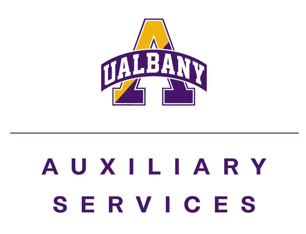 "Large A that is split in half with gold and purple. ""UAlbany"" written across the A in a banner. Auxiliary Services in purple below the A"