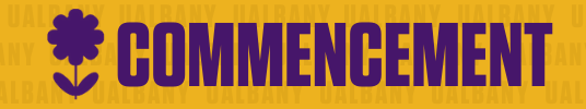 Clickable button for commencement services at UAlbany