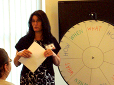Rhonda Makoske, Director of Medical Imaging at Columbia Memorial Hospital, led participants in a discussion using a Wheel of Knowledge game format