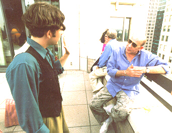 Hunter Thompson (right) with Writers Institute videographer Hugo Perez (left)