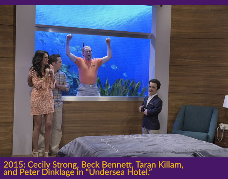 2015 Cecily Strong, Beck Bennett, Taran Killam, and Peter Dinklage in Undersea Hotel. Photo by Dana Edelson NBC
