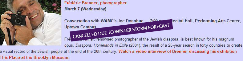 Frederic Brenner March 7 event canceled due to winter storm forecast